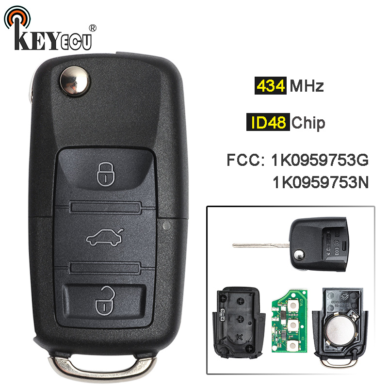 QCONTROL 3BT Upgrade Auto Remote Key for SKODA Octavia II 1K0959753 1K0 959 753 Vehicle Keyless Entry Transmitter