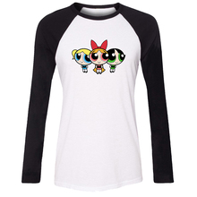 Women's T-shirt Cartoon Cute The Powerpuff Girls Blossom Bubbles Buttercup Pattern Raglan Long Sleeve Girl T shirt Lady Tee Tops