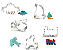 5PCS/SET Plane,Sailing, Train  Shape Stainless Steel Cookie Cutter Pastry Decorating Lips Cake Cupcake Decorator
