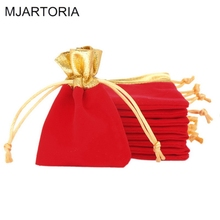 MJARTORIA 50PCs 7x9cm Gift Bags Red Velvet Drawstring Velvet Gift Bag Jewelry Pouches For Package Display Bag Jewelry Pouch