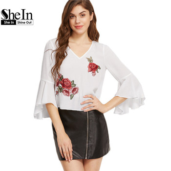 SheIn Summer Tops Sexy Blouses for Women White Cut Out Back Ruffle Three Quarter Length Sleeve Top With Rose Patch Detail