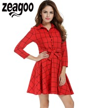 Zeagoo Leisure Vintage Dresses Autumn Women Plaid Check Print Spring Casual Shirt Dress Lapel Neck 3/4 Sleeve Swing Dress XXL(China)