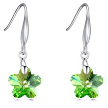 Drop Earrings For Kids Girls Flower Austrian Crystal Green Earrings Rhodium Plated Jewelry 5 Colors Young Girl Bijoux Wholesale