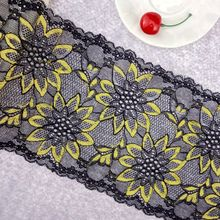 Buy #60 sunflower Lace 16.5CM Wide 2 yards/lot Stretch Elastic Lace Mesh Fabric Trim Ribbon Trimming Embroidered DIY Sewing Supplies for $3.31 in AliExpress store