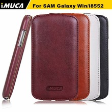durable Leather case For Samsung Galaxy Win i8552 8552 GT i8550 i8558 cover luxury leather flip case imuca case shell(China)