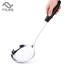 TTLIFE Stainless Steel Spoon Colander Soup Ladle Long Handle Wall Hanging Cooker Tool Strainer Filter Skimmer Kitchen 1PC