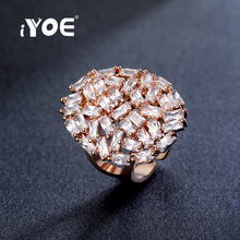 IYOE Top Quality Crystal Wedding Brand Fashion Rings White Rose Gold Color Women Classic Bridal Ring Anniversary Gifts