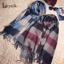 [Lakysilk]Winter Scarf for Women Plaid Fringe Head Wrap Scarves Pashmina Cashmere Shawls Evening Gowns Luxury Brand 200*70cm(China)