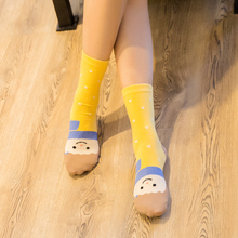 Cut Cartoon Emoji In Tube Women Cotton Socks Striped Dot Candy Color Female Long Sock Korean And Japanese Fashion Cheap Cute Sox(China)