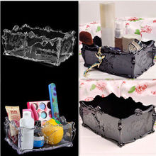 Women's Clear/Black Acrylic Cosmetic Makeup Organizer Drawer Storage Jewellery Box Bins Holder(China)