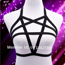 Buy New Sexy Elastic Lingerie pentagram harness cage bra body cage fetish bondage Harness Belt 90's Goth Body suit