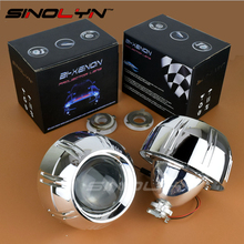 SINOLYN Car Tuning 3.0'' HID Bixenon Lens Projector Headlight Retrofit With Bullet Shrouds Headlamp For Peugeot 308 408 Styling(China)