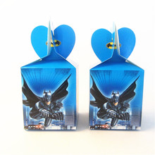 6pcs Cartoon Superhero Gift Box Batman Candy Box Gift Box Favor Box Birthday Party Decorations Kids Event & Party Supplies