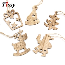 16PCS DIY Christmas Wooden Pendant Star&Deer&Tree Ornaments Xmas Tree Ornaments Christmas/Wedding Party Decorations Kids Gift(China)