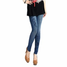 LOWEST PRICE Sexy Women Stretch Faux Denim Jeans Leggings Skinny Slim