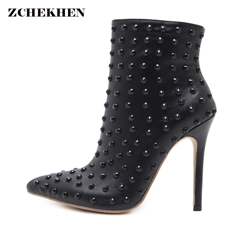 Black sexy Ankle Boots Women High Heels Pointed Toe Sexy Snow Boots Woman Shoes Rivets Winter Women Martin Boots Botas Mujer<br>