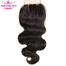 Aliballad Brazilian Body Wave Lace Closure Three Part 4X4 Natural Color Non-Remy Hair Closure 100% Human Hair
