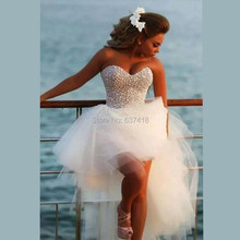 Ivory Short Sexy Beach Wedding Dresses Short Front Long Back Wedding Dress with Pearl Beads Robe de Mariage