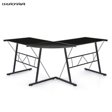 iKayaa US UK FR Stock L-shaped Corner Computer Desk PC Laptop Notebook Table Workstation Tempered Galss Top Office Furniture