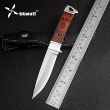 KKWOLF Hot K90 Tactical Knife fixed Blade hunting knife Leather sheath outdoor camping survival knife EDC tools Free shipping