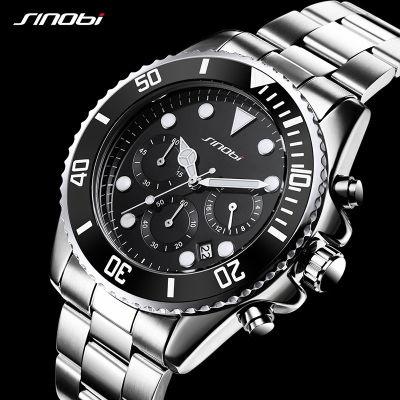 SINOBI Unique Rotatable Dial Quartz Watch Mens Fashion Watches 2018 Top Brand Luxury Stainless Steel Watch Relogio Masculino<br>