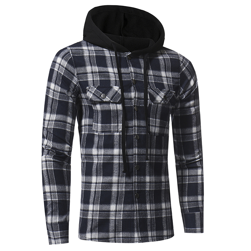 Plaid Shirt 2018 Autumn Fashion Shirts Men Casual Brand Clothing Men Shirt Long Sleeve Casual Lattice Hooded Camisa Social XXXL 7