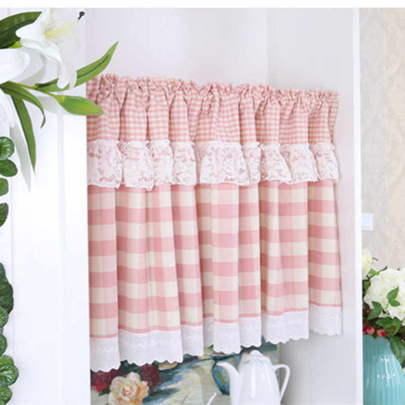 XYZLS Brand Modern Floral and Plaid Short Kitchen Curtains Cafe Curtain Half Panel Drapes Valance for Door Cupboard Kitchen