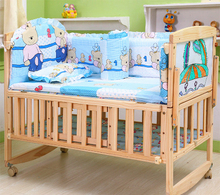 Multifunctional No Paint Pine Wood Baby Bed Newborn Baby Crib Baby Playpen Crib Rocking Cradle Swing Vary Desk Drawing Board C01(China)