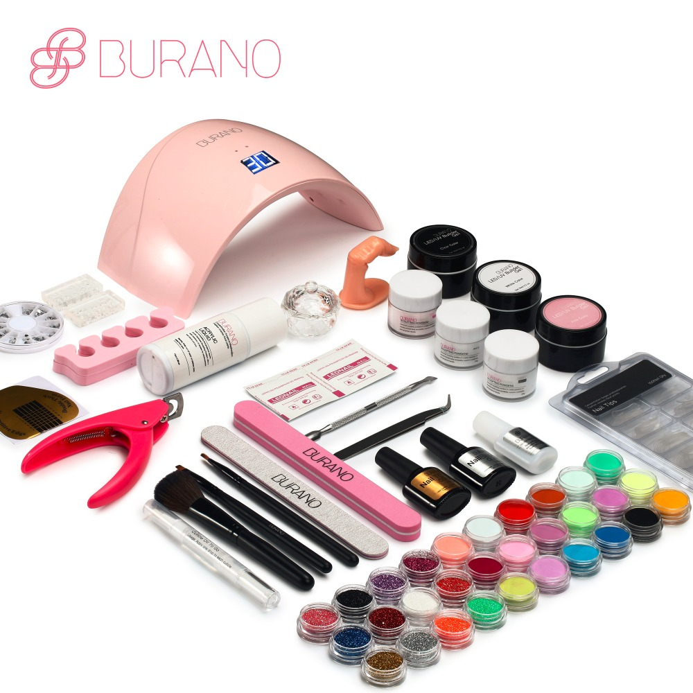 Burano UV/LED nail lamp Dryer acrylic nail art set acrylic nail kit set with lamp nail tools set 011(China)