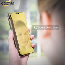 KISSCASE Ultra Thin Mirror Flip Cases For Samsung Galaxy S7 S8 S8 Plus S6 S6 Edge A5 2016 A3 A7100 Case Mirror Reflecting Cover