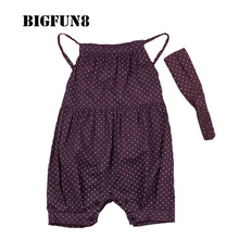Summer Newborn Girl Baby Rompers With Head Belt Toddler Polka Dot Clothes Sleeveless Jumpsuits Infant Suspenders Romper