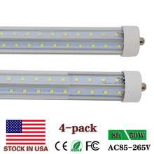 Single Pin FA8 V Shape 8ft LED Tube Lights T8 8 ft 2.4m LED Tube Super Bright 5000K Daylight 50W Clear Cover US SHIPPING NO TAX(China)