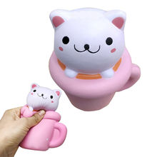 Moonvvin 14CM Cute Ornaments Squishy Pink/Red Cup Cat Slow Rising Cream for Home Office Desk Decoration P15(China)