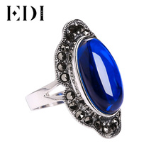Vintage 925 Sterling Silver Jewelry Sapphire Ring for Women Classic Fine Jewelry Sterling Silver Natural Gemstone Rings for Gift(China)
