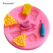 2017 new Shop 3D Pizza Fries Milk Coffee Drinks Silicone Mold Chocolate Fondant Cake Decoration Mold Cakes Cooking Tools(China)
