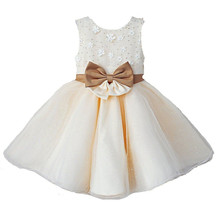 Nicoevaropa 2017 New Girl Party Wedding Dresses Kids Sleeveless Ball Gown with Bow Band Children Formal Dresses(China)