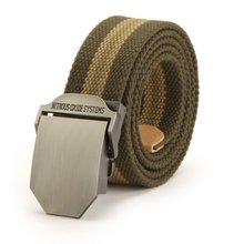 New Fashion Adjustable Men Slider Buckle Military Long Weave Canvas Web Belt