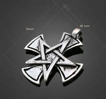 10pcs Antique Silver Star Cross Charms Pendant-DIY Jewelry Findings Earring Necklace Bracelet Cell Phone Accessories 54mmX46.1mm(China)