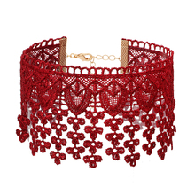 Vintage Elegant Red Wine Handmade Crochet Hollow Out Palace Flower Tassel Statement Choker Necklaces For Women Lady T4428