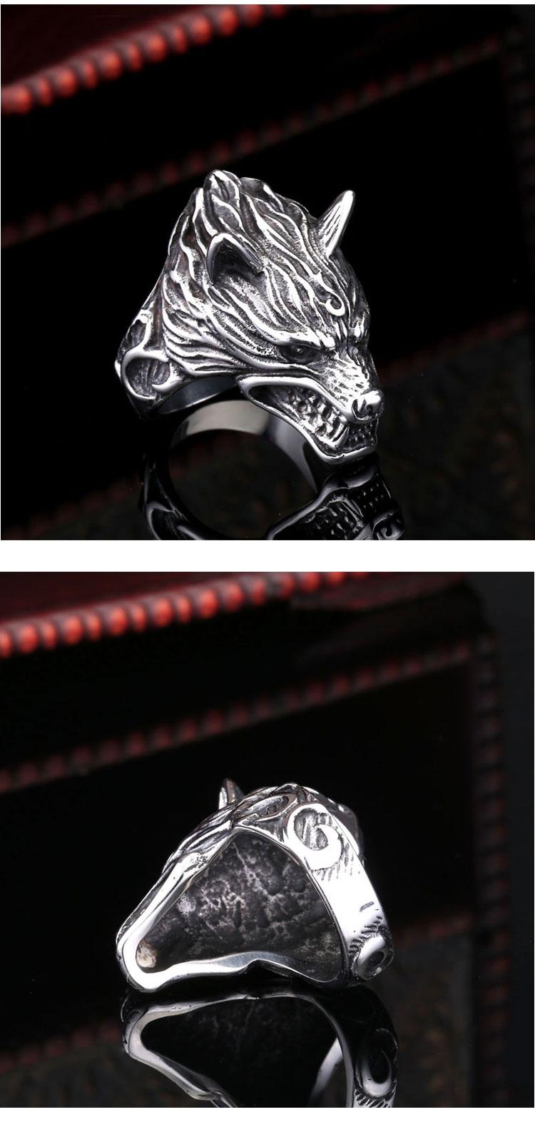 แหวนผู้ชายเท่ห์ๆ Code 043 แหวน หมาป่าดุ Game of thrones สแตนเลส7