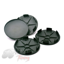 Rhino Tuning Auto 4PC 68mm ABS plastic Car Wheel Hubs Caps Wheel Center Base Badge Black Wheel Centre Car Hub Cap Emblem Holder(China)