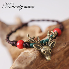 2017 New Bohemia Vintage Handmade Knitted Ceramic Bead Copper Deer Head Bracelets for Women Girls Lovers Gifts(China)