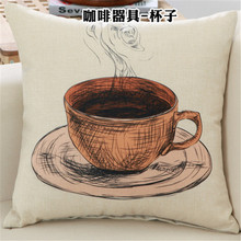 Scandinavian coffee shop sofa upholstery cover upscale knit pillowcase coffee maker grinder printing Nordic kids birthday gift(China)