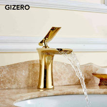 GIZERO Free Ship Top Quality Lavatory Waterfall Solid Brass Golden Bathroom Sink Faucet Hot Cold Mixer Washbasin Water Tap GI552