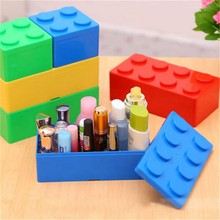 4 Colors Creative Storage Box Plastic Building Block Shape Saving Space Box Superimposed Desktop Office House Organizer
