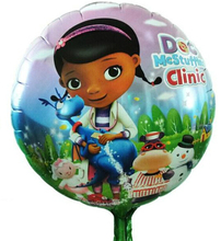 Pretty doc mcstuffins party balloons 18inch helium balloons 50pcs/lot mylar balloon for child party supplies enfeites para festa