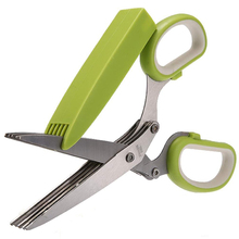 Bestselling Office Paper Cut Shredding Scissors Stainless Steel 5 Blade Herb Scissors Kitchen Tool green