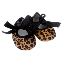 Wholesale Infantil Baby Bowknot Leopard Printing First Walker Newborn Cloth Shoes Baby Girl Toddler Shoes Bebes Baby Moccasins(China)
