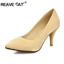 REAVE CAT Spring summer shoes Big size 31-48 Ladies pumps Woman high heel shoes Selling shoes Satin Glitter Fashion Sexy Party