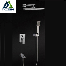 Chrome Finish 8 inch Shower Faucet Bath Shower Mixer Taps + Brass Wall Mount Shower Arm + ABS Handshower + Brass Mixer Valve